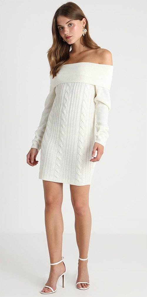 Robe courte pull blanche Missguided