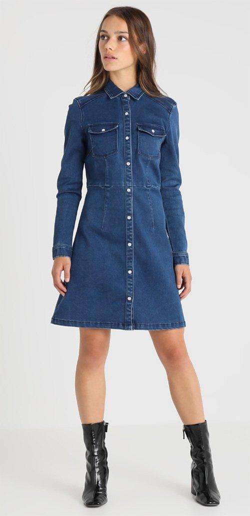 Robe courte en jean bleu Second Script Petite